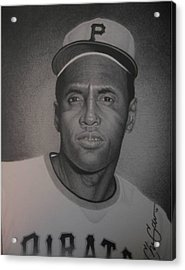 Roberto Clemente Acrylic Print by Christian Garcia
