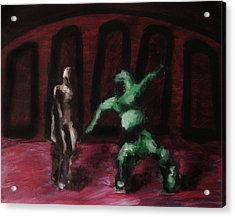 Acrylic Print featuring the painting Robot Chewbacca Fight Colosseum In Red Green And Pink by M Zimmerman