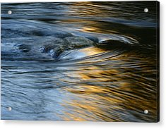 Rock And Blue Gold Water Acrylic Print