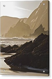 Rock And Waves Dingle Peninsular Acrylic Print by Julian Easten
