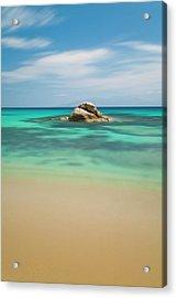 Rock At Paranga Beach Acrylic Print by Vasilis Tsikkinis photos
