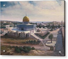 Acrylic Print featuring the painting Rock Dome - Jerusalem by Laila Awad Jamaleldin
