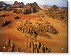 Rock Formations And Sand Near Petra Acrylic Print by Annie Griffiths