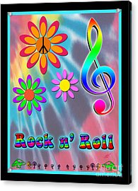 Rock Music Poster Acrylic Print by Linda Seacord