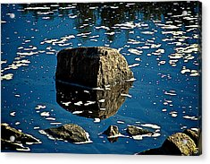 Rock Reflection In Blue Water Acrylic Print by Andre Faubert