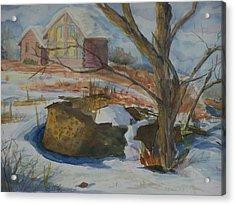 Rock Wall In Winter Acrylic Print