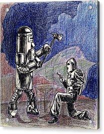 Rocket Man And Robot Acrylic Print by Mel Thompson