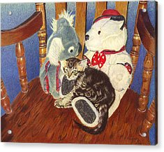 Rocking With Friends - Kitten And Stuffed Animals Painting Acrylic Print