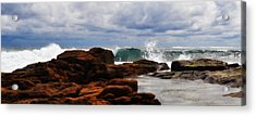 Rocks And Surf Acrylic Print by Phill Petrovic