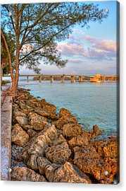 Rocks And Water Longboat Pass Bridge Acrylic Print by Jenny Ellen Photography