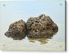 Rocks With Reflection Acrylic Print by Rudy Umans
