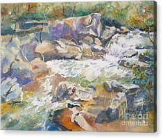Acrylic Print featuring the painting Rocky River by Mary Haley-Rocks