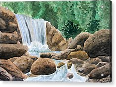 Rocky Waterfalls Acrylic Print by Anthony Nold