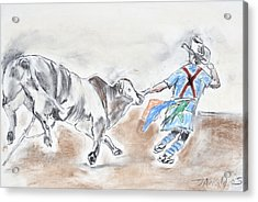 Acrylic Print featuring the drawing Rodeo Bullfighter by Jim  Arnold