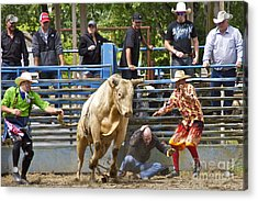 Rodeo Clowns To The Rescue Acrylic Print by Sean Griffin