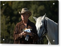 Rodeo Doc And His Horse Acrylic Print by Cheryl Cencich