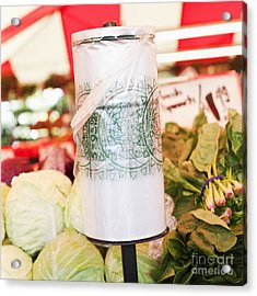Roll Of Plastic Produce Bags In A Market Acrylic Print by Jetta Productions, Inc