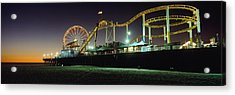 Rollercoaster And Ferris Wheel At Dusk Acrylic Print by Axiom Photographic