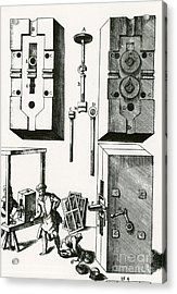 Rolling Mill For Lead Strips Acrylic Print by Photo Researchers