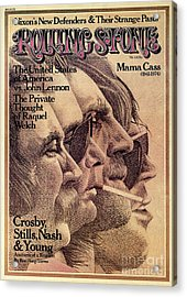 Rolling Stone Cover - Volume #168 - 8/29/1974 - Crosby, Still, Nash And Young Acrylic Print by Dugard Stermer