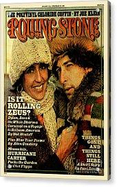 Rolling Stone Cover - Volume #204 - 1/15/1976 - Joan Baez And Bob Dylan Acrylic Print by Ken Regan