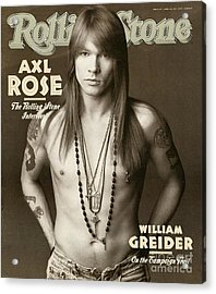 Rolling Stone Cover - Volume #627 - 4/2/1992 - Axl Rose Acrylic Print by Herb Ritts