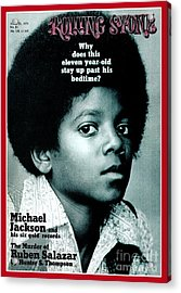Rolling Stone Cover - Volume #81 - 4/29/1971 - Michael Jackson Acrylic Print by Henry Diltz