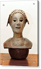 Roman Mask Torso Lady With Head Cover Face Eyes Large Nose Mouth Shoulders Acrylic Print