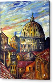 Acrylic Print featuring the painting Roman Roofs by Roberto Gagliardi