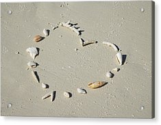 Romantic Message On Beach In Coral And Shells. Acrylic Print by Rosemary Calvert