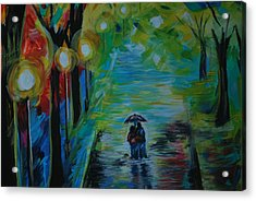 Acrylic Print featuring the painting Romantic Stroll Series 1 by Leslie Allen
