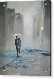Romantic Walk In The Rain Acrylic Print