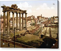 Rome, Ruins Of The Temple Of Saturn Acrylic Print by Everett