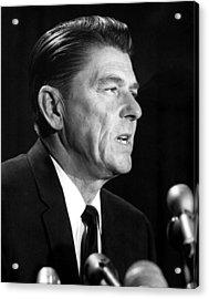 Ronald Reagan At A Press Conference Acrylic Print by Everett