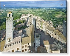 Rooftops Of San Gimignano Acrylic Print by Rob Tilley