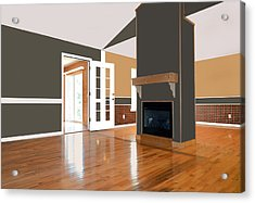 Room With Fireplace Acrylic Print by Susan Leggett