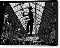 Ropewalker In Covent Garden Acrylic Print by Aldo Cervato