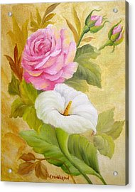 Rose And Calla Lily Acrylic Print