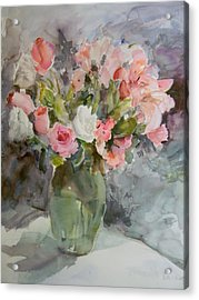 Rose And Lily Bouquet Acrylic Print by Betty J Bee