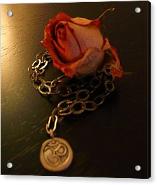 Rose And Om Acrylic Print by Debra Jacobson