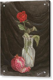 Rose And Pomegranate Acrylic Print
