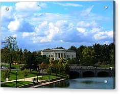 Acrylic Print featuring the photograph Rose Garden And Hoyt Lake by Michael Frank Jr