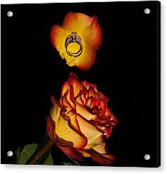 Rose Petals And Wedding Rings 1 Acrylic Print by Douglas Barnett