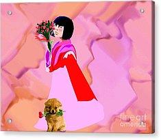 Rose  Petals Acrylic Print by Belinda Threeths