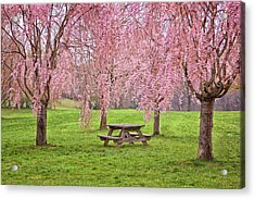 Rose Tree Table Acrylic Print