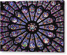 Rose Window In The Notre Dame Cathedral Acrylic Print by Axiom Photographic