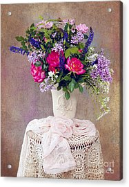 Acrylic Print featuring the photograph Roses And Lilac  by Cheryl Davis