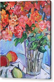 Roses And Peaches Acrylic Print by Carol Mangano