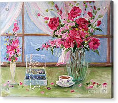 Roses And Pearls Acrylic Print by Jennifer Beaudet