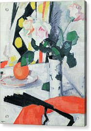 Roses In A Chinese Vase With Black Fan Acrylic Print by Samuel John Peploe